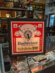Vintage 1985 Budweiser Clock Clydesdale Horses King Of Beers Sign Video 13.5