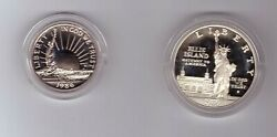 1986 S Silver American Liberty Coin Proof Set One Dollar And Half Dollar