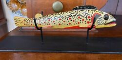Vintage Ice Fishing Rainbow Trout Decoy W/ Stand In The Style Of Oscar Peterson