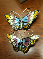 Set Of 2 Vintage David Andersen Sterling Silver And Enamel Butterfly Brooches