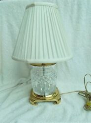Waterford Crystal Lismore Barrel Table Lamp Footed Brass Base And Shade