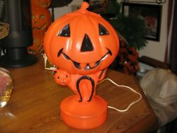 Vintage 1960s Halloween Holiday Blow Mold Pumpkin Head On Cat Light With Cord