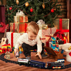 Ibasetoy Kids Vintage Electric Steam Train Toy With Lights Music Smoke Engine