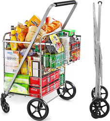 Wellmax Shopping Cart With Wheels, Metal Grocery Cart With Wheels, Shopping Cart