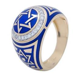 14К Yellow Gold Star Of David Ring With Blue Enamel And 28 Diamonds Jewish Gift