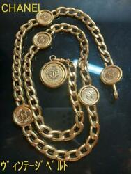 Vintage Cocomark Gold Chain Belt From Japan Fedex No.3953