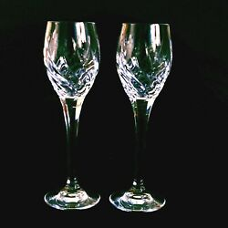 2 Two Mikasa Preview Cut Lead Crystal Cordial Glasses - Discontinued
