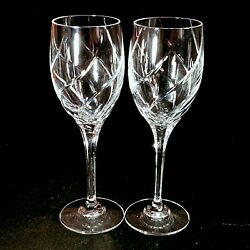 2 Two Mikasa Olympus Cut Lead Crystal Water Goblets - Discontinued
