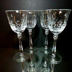 4 Four Mikasa Cameo Cut Lead Crystal Water Goblets -discontinued