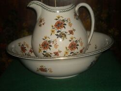 Vintage Cauldon England 16 Wash Basin And Footed Pitcher Used