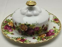 Royal Albert Old Country Roses Butter Dish Bone China England 1962 Vintage