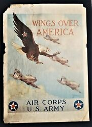 1939 Vintage Wwii Original War Poster Wings Over America Us Army Air Corps Recru