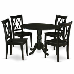 East West Furniture Dublin Wood 5-piece Dining Set With Black Dlcl5-blk-w