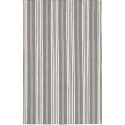 Cc Home Furnishings 3.5and039x5.5and039 Pleasant Comfort Stripe Flint Gray White Throw Rug