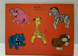 Rare Jigsaw Beautiful Vintage Connor Toys Zoo Wooden Puzzle Pieces