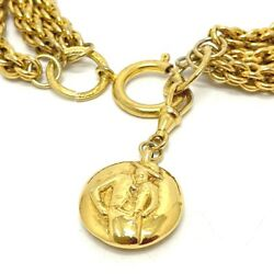 Vintage Madmoisel Series Chain Necklace Gp Women 's Gold No.4849