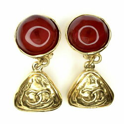 Gripoa Brass Earring Red Gold Plated Cc Mark Glass 1988 Make No.5725