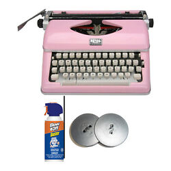 Royal 79105y Classic Manual Typewriter Pink With Ribbon And Cleaner Bundle