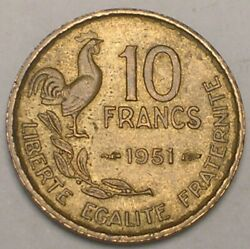 1951 France French 10 Francs Rooster Coin Vf+