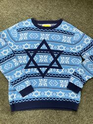 Tipsyelves The Night Before Collection Blue Star Of David Hanukkah Sweater Large
