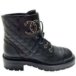 Nib Cc Combat Boots Black 39.5 Eur Size Leather Quilted Shoes Brooch Gold