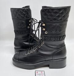Nib Cc Combat Boots Black 40 Eur Size Leather Quilted Shoes Brooch Gold