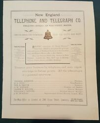 1895 Antique New England Telephone And Telegraph Co Lawrence Ma Ad