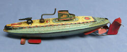 Vintage 1955 Tin Lithograph Submarine Ssn 25 San Japan Wind-up Toy Works