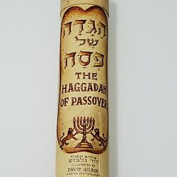 Vintage 1960's The Haggadah Of Passover David Gilboa Rollup Scroll, Elal Case