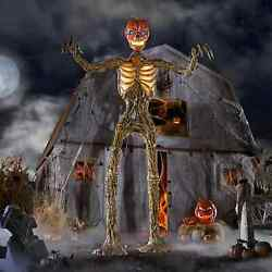 12 Foot Giant Inferno Pumpkin Skeleton W/lcd Eyes Sold Out New