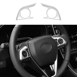 For Toyota Avalon 2019-2021 Matte Silver Steering Wheel Switch Cover Trim 2pcs