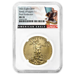 2021 50 Type 1 American Gold Eagle Ngc Ms70 1 Oz Final Production Black Label