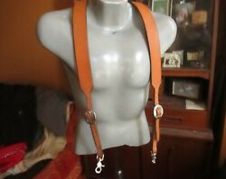 Vtg Handmade Leather Logger Clip Suspenders Braces Elastic One Size Fits All