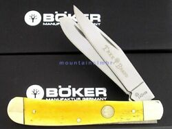 Boker Tree Brand Trapper Smooth Yellow Bone Handle 4 1 8quot; Knife 110731