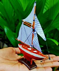 Old Sailing Ship Boat Coconut Wood Strong Decoration Crafts Natural Diy Toy New
