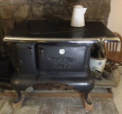 Antique Cast Iron Welcome Globe Cook Stove March-brownback Pottstown Pa