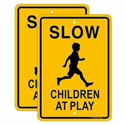 Jowanyo Slow Down Children At Play Sign 17 X 12 Inchesreflective Aluminum2 Pack