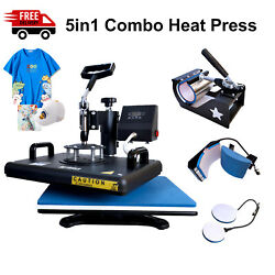 5in1 T-shirt Heat Press Machine Transfer Kit Sublimation Digital Cup Cap And Hat