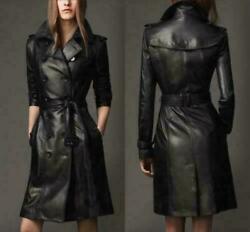 Women Genuine Lambskin Black Belted Overcoat Urban Real Leather Trench Coat Rx54