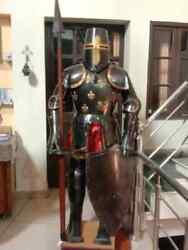 Full Size 6 Feet Knights Templar Suit Of Armour Medieval Roman Armor Suit Solid