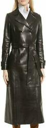 Women Urban Genuine Lambskin Real Leather Long Overcoat Belted Trench Coat Rx107
