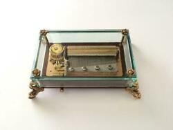 Vintage Reuge Music Box Crystal Clear Glass 3/50 Dolphin Legs