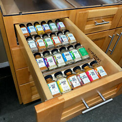 Natural Wood Kitchen Spice Rack Organizer For Cabinet 4 Tiers Tray Insert Drawer