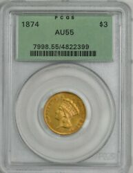 1874 3 Gold Indian Au55 Green Label Pcgs 944671-75