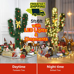 Pre-lit Cactus Artificial Christmas Xmas Tree With Led Lights And Ball Ornaments