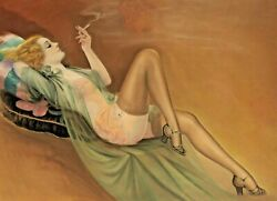 Giclee Carole Lombard Pinup Art Deco Stockings Lingerie Garters Pin-up 12x18