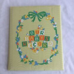 New Vtg 1941 Our Baby's Unisex Record Book C. Juneau Sanitoy Satin Baby Book