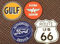 Replica Vintage Service Station And Route 66 Signs Set Of Four