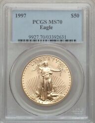 1997 50 Gold Eagle Pcgs Ms70 Low Pop Only 64 Coins