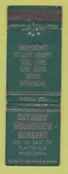 Matchbook Cover Suthers#x27; Moundview Nursery Trees Platteville WI WORN
